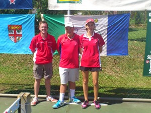 OCJC Chair Umpires Ben Carter (AUS); Pierre Messonier(CAL) and Caroline Dupuy (CAL)