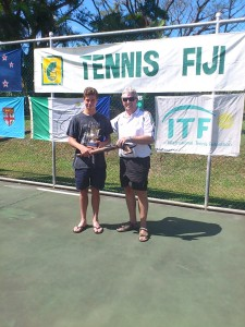 OCJC Tournament Director John Shannon with the Boy's Singles Winner, Alex Klintcharov